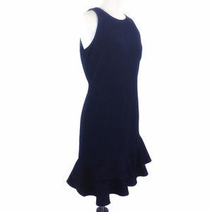 Cynthia Rowley Ruffle Hem Crepe Dress Navy Blue 6